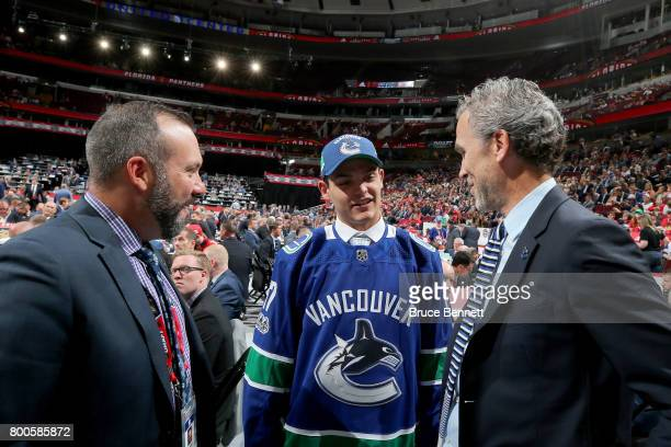 Michael DiPietro meets with executives after being selected 64th overall by the Vancouver Canucks during the 2017 NHL Draft at the United Center on...