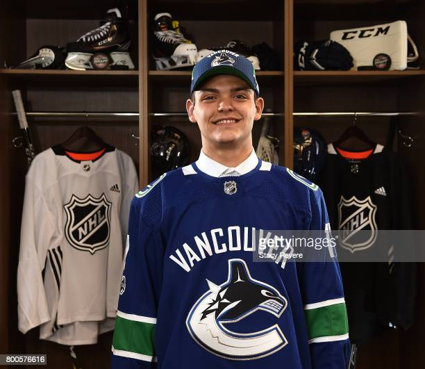 Michael DiPietro poses for a portrait after being selected 64th overall by the Vancouver Canucks during the 2017 NHL Draft at the United Center on...