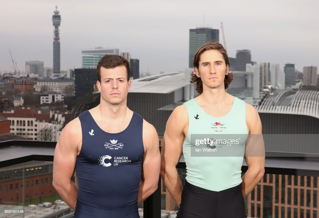 Michael DiSanto of Oxford (L) and Lance Tredell of Cambridge (R) pose prior to the men's crew announcement for the 2017 Cancer Research UK University Boat Races at Google's London headquarters on March 14, 2017 in London, England.
