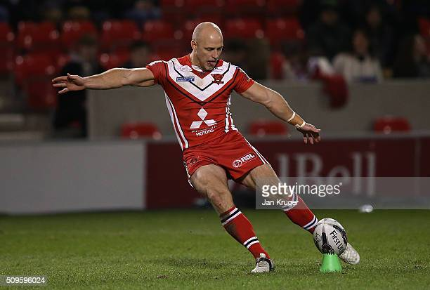 Michael Dobson of Salford Red Devils converts a try during the First Utility Super League match between Salford City Reds and St Helens at AJ Bell...