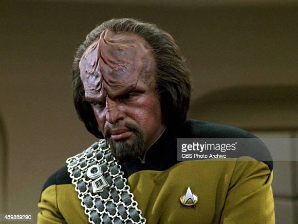 Michael Dorn as Lieutenant Worf in the STAR TREK THE NEXT GENERATION episode 'The Hunted' Season 3 episode 11 Original air date January 8 1990