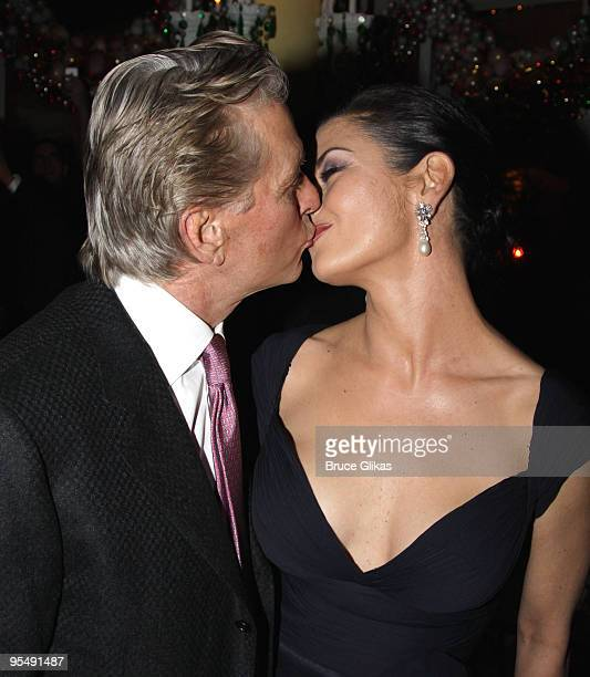 Michael Douglas and Catherine Zeta Jones at the 'A Little Night Music' Broadway opening night after party at Tavern on the Green on December 13 2009...