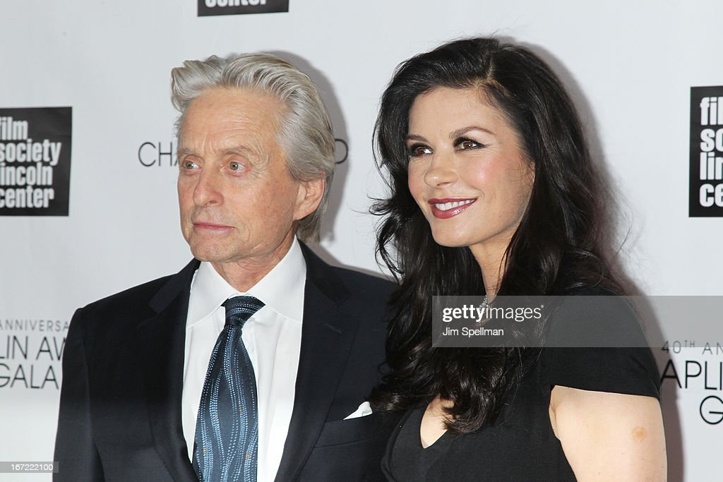 <a gi-track='captionPersonalityLinkClicked' href=/galleries/search?phrase=Michael+Douglas&family=editorial&specificpeople=171111 ng-click='$event.stopPropagation()'>Michael Douglas</a> (L) and <a gi-track='captionPersonalityLinkClicked' href=/galleries/search?phrase=Catherine+Zeta+Jones&family=editorial&specificpeople=167111 ng-click='$event.stopPropagation()'>Catherine Zeta Jones</a> attend the 40th Anniversary Chaplin Award Gala at Avery Fisher Hall at Lincoln Center for the Performing Arts on April 22, 2013 in New York City.