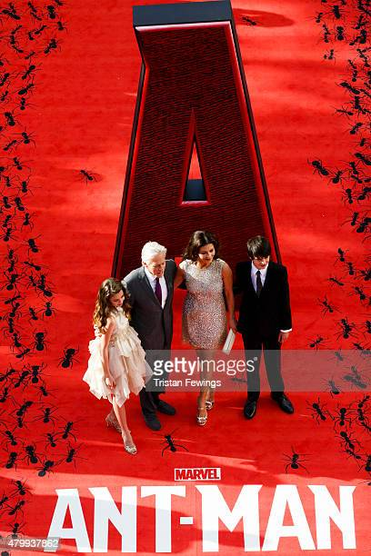 Michael Douglas and Catherine Zeta Jones with their children Carys and Dylan attend the European Premiere of Marvel's 'AntMan' at Odeon Leicester...
