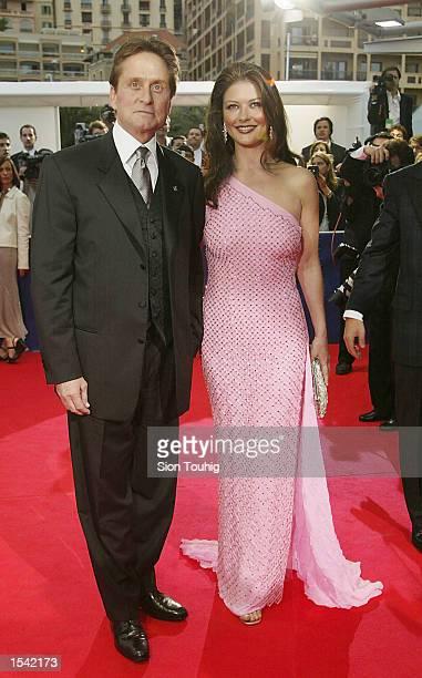 Michael Douglas and Catherine ZetaJones arrive at the Laureus World Sports Awards Ceremony May 14 2002 at the Grimaldi Forum in Monte Carlo Monaco