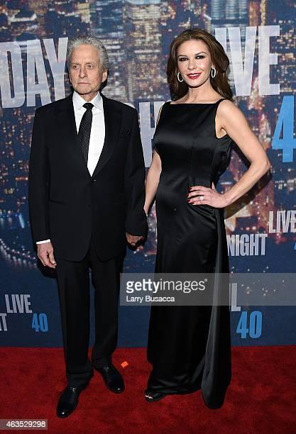 Michael Douglas and Catherine ZetaJones attend SNL 40th Anniversary Celebration at Rockefeller Plaza on February 15 2015 in New York City