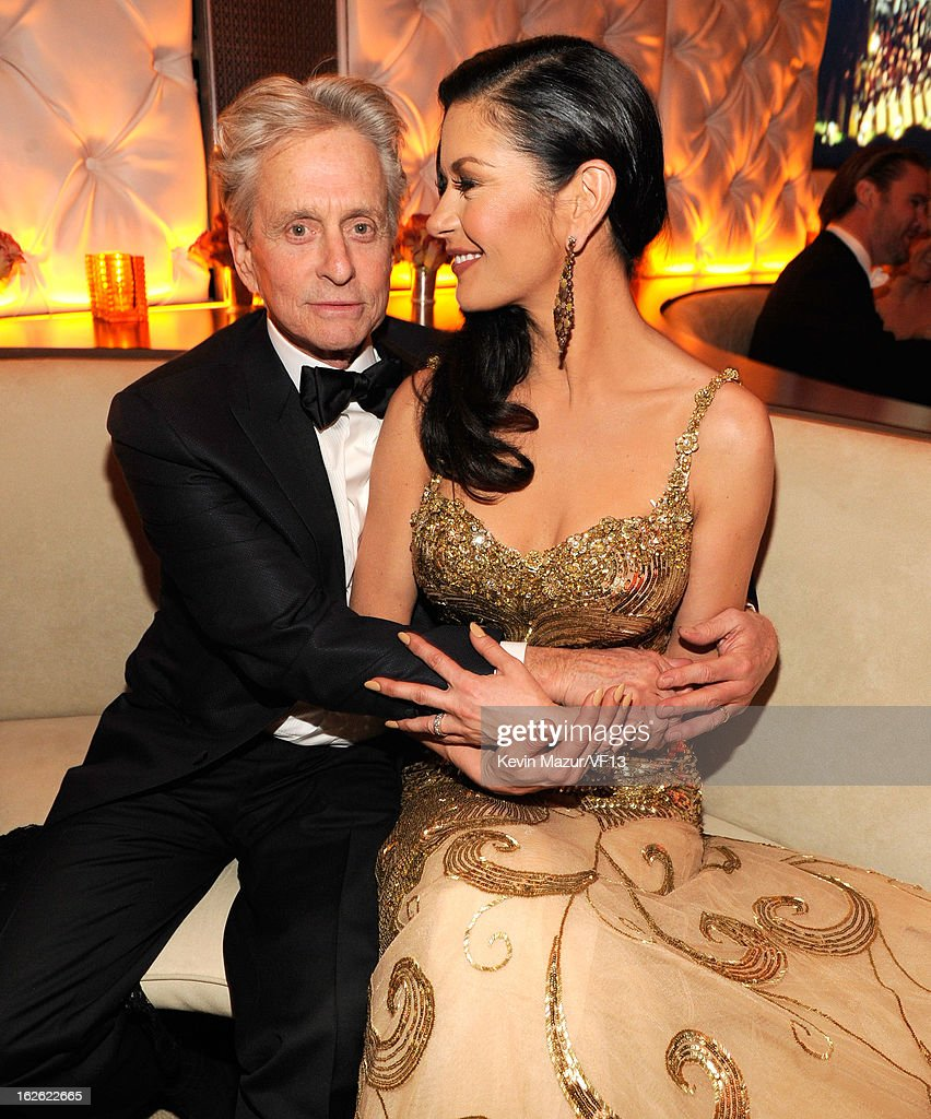 <a gi-track='captionPersonalityLinkClicked' href=/galleries/search?phrase=Michael+Douglas&family=editorial&specificpeople=171111 ng-click='$event.stopPropagation()'>Michael Douglas</a> and Catherine Zeta-Jones attend the 2013 Vanity Fair Oscar Party hosted by Graydon Carter at Sunset Tower on February 24, 2013 in West Hollywood, California.