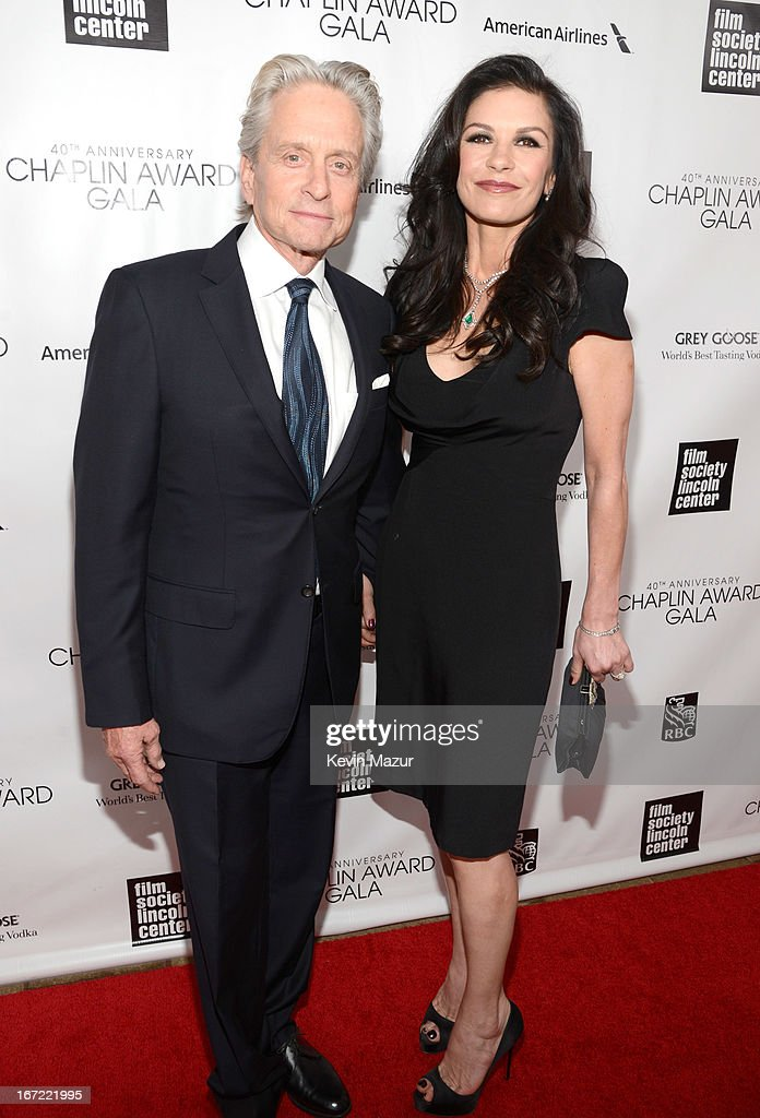 Michael Douglas and Catherine Zeta-Jones attend the 40th Anniversary Chaplin Award Gala at Avery Fisher Hall at Lincoln Center for the Performing Arts on April 22, 2013 in New York City.