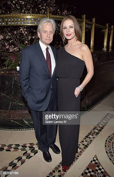 Michael Douglas and Catherine ZetaJones attend the Phoenix House Public Service Award Dinner at Cipriani 42nd Street on January 29 2015 in New York...