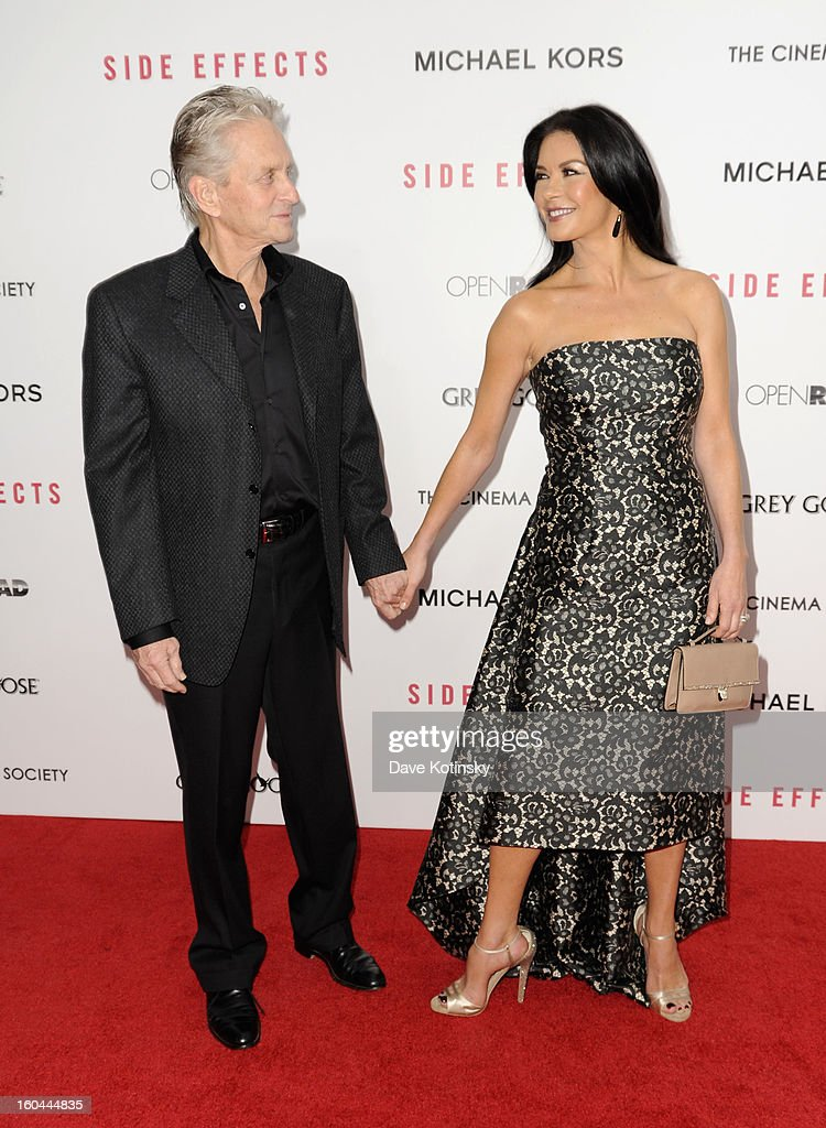 <a gi-track='captionPersonalityLinkClicked' href=/galleries/search?phrase=Michael+Douglas&family=editorial&specificpeople=171111 ng-click='$event.stopPropagation()'>Michael Douglas</a> and Catherine Zeta-Jones attend the premiere of 'Side Effects' hosted by Open Road with The Cinema Society and Michael Kors at AMC Lincoln Square Theater on January 31, 2013 in New York City.
