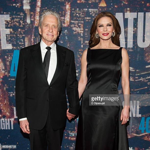 Michael Douglas and Catherine ZetaJones attend the SNL 40th Anniversary Celebration at Rockefeller Plaza on February 15 2015 in New York City