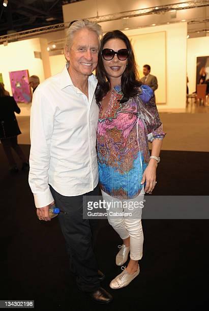 Michael Douglas and Catherine ZetaJones attends Art Basel Miami Beach at the Miami Beach Convention Center on November 30 2011 in Miami Beach Florida
