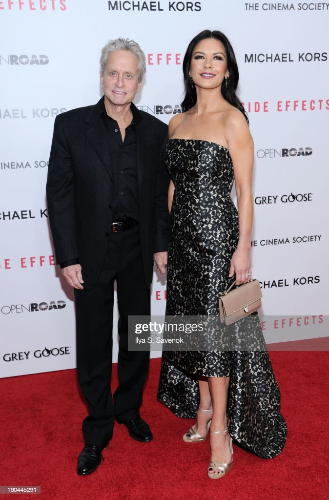 <a gi-track='captionPersonalityLinkClicked' href=/galleries/search?phrase=Michael+Douglas&family=editorial&specificpeople=171111 ng-click='$event.stopPropagation()'>Michael Douglas</a> and Catherine Zeta-Jones attends the premiere of 'Side Effects' hosted by Open Road with The Cinema Society and Michael Kors at AMC Lincoln Square Theater on January 31, 2013 in New York City.