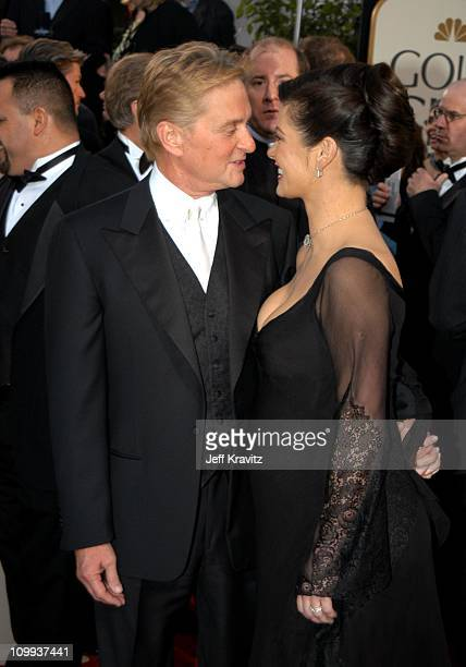 Michael Douglas and Catherine ZetaJones during The 60th Annual Golden Globe Awards Arrivals at Beverly Hilton Hotel in Beverly Hills CA United States