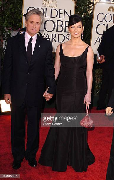 Michael Douglas and Catherine ZetaJones during The 61st Annual Golden Globe Awards Arrivals at The Beverly Hilton in Beverly Hills California United...