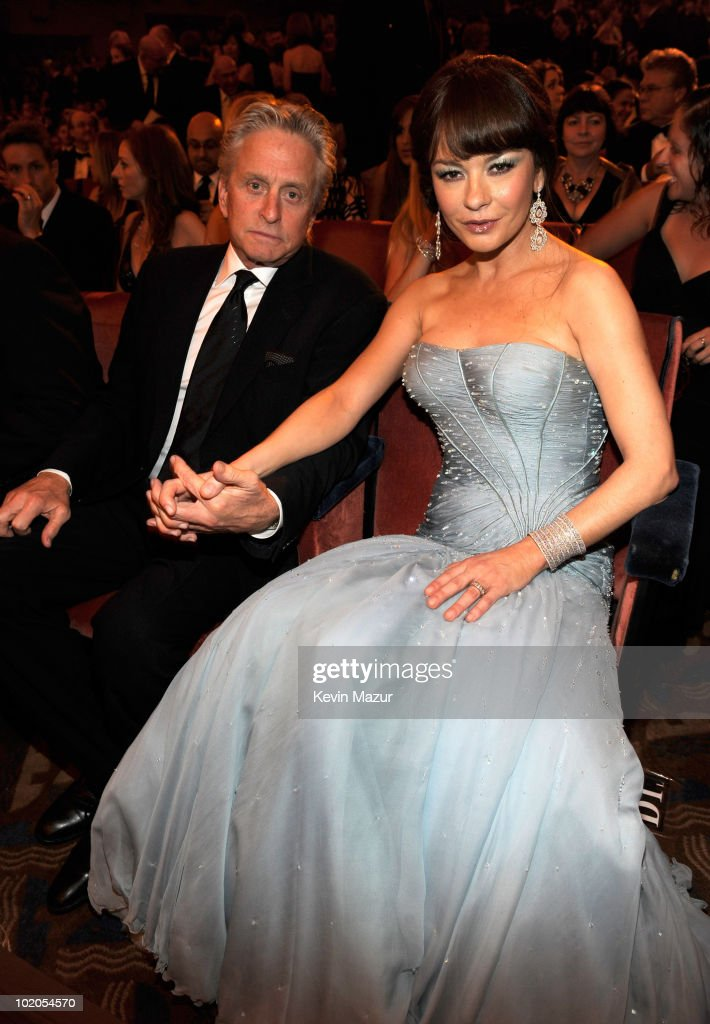 <a gi-track='captionPersonalityLinkClicked' href=/galleries/search?phrase=Michael+Douglas&family=editorial&specificpeople=171111 ng-click='$event.stopPropagation()'>Michael Douglas</a> and Catherine Zeta-Jones in the audience at the 64th Annual Tony Awards at Radio City Music Hall on June 13, 2010 in New York City.