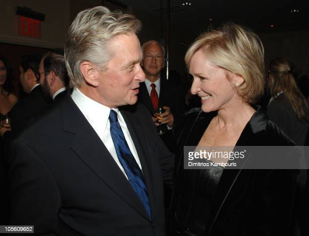 Michael Douglas and Glenn Close during The Christopher Reeve Foundation 'A Magical Evening' Cocktails at Mariott Marquis in New York New York United...