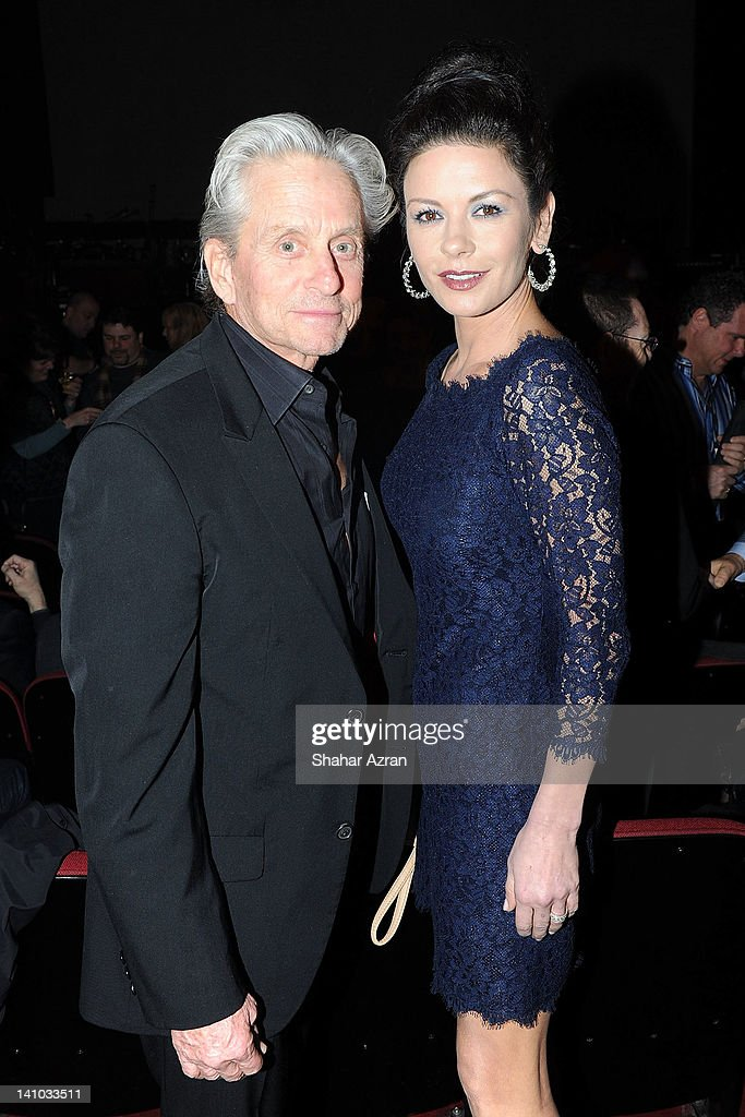 Michael Douglas and his wife Catherine ZetaJones attend SiriusXM's concert celebrating 10 years of satellite radio at The Apollo Theater on March 9...