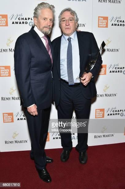 Michael Douglas and Robert De Niro backstage during the 44th Chaplin Award Gala at David H Koch Theater at Lincoln Center on May 8 2017 in New York...