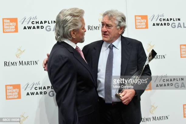 Michael Douglas and Robert De Niro backstage during the 44th Chaplin Award Gala at David H Koch Theater at Lincoln Center on May 8 2017 in New York...