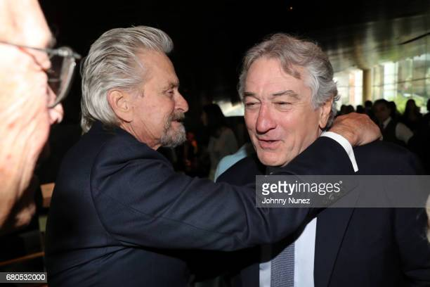Michael Douglas and Robert Deniro during the 44th Chaplin Award Gala Dinner at David H Koch Theater at Lincoln Center on May 8 2017 in New York City