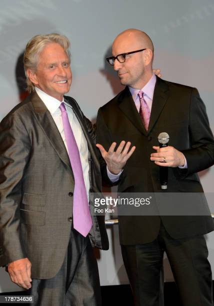 Michael Douglas and Steven Soderbergh attend the Press Conference during the 39th Deauville American Film Festival Opening Ceremony at the CID on...