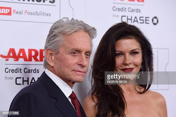 Michael Douglas and wife Catherine ZetaJones arrive for the 15th Annual Movies for Grownups Awards in Beverly Hills California February 8 2016 / AFP...