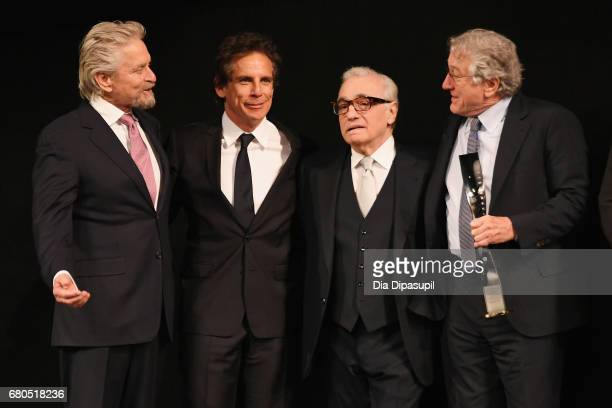 Michael Douglas Ben Stiller Martin Scorsese and Robert De Niro pose onstage during the 44th Chaplin Award Gala at David H Koch Theater at Lincoln...