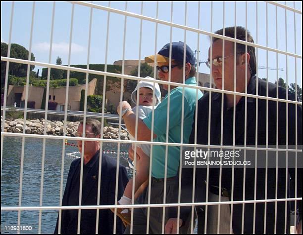 Michael Douglas Catherine ZetaJones and their baby enjoy the sun in the Monte Carlo harbor In Monaco City Monaco On May 14 2002