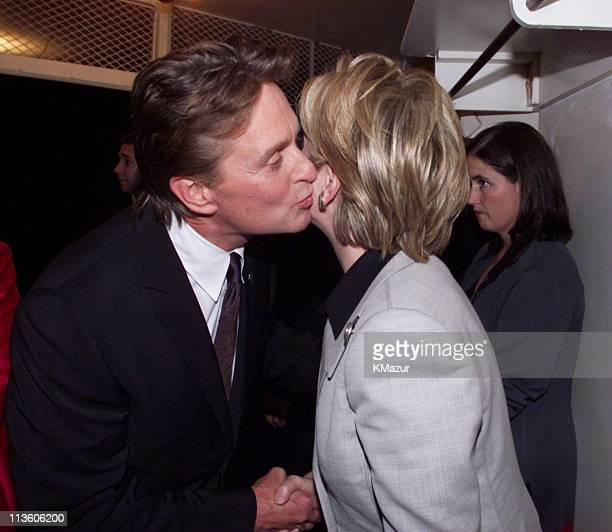 Michael Douglas greets Hillary Clinton during DNC 2000 Fundraiser NY Concert at Radio City Music Hall in New York City New York United States