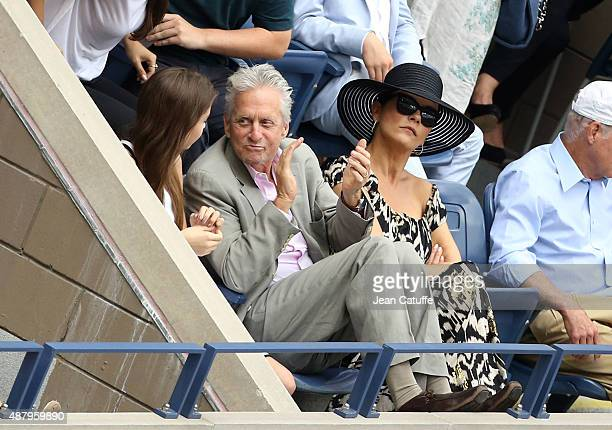 Michael Douglas his wife Catherine ZetaJones and their daughter Carys Zeta Douglas attend the women's final on day thirteen of the 2015 US Open at...
