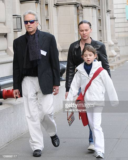 Michael Douglas is seen with his daughter Carys on streets of New York on March 8 2011 in New York City