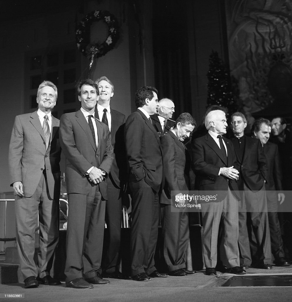 Michael Douglas, Michael Lynton, CEO of Sony Pictures, Chris McGurk, COO of MGM, Peter Chernin, COO of News Corporation, Johnny Grant, Barry Meyer, CEO of Warner Bros., Jack Valenti, Ron Meyer, COO of Universal Studios, Jim Gianopulos, Chairman of 20th Century Fox, and Alex Yemenidjian, CEO of MGM.