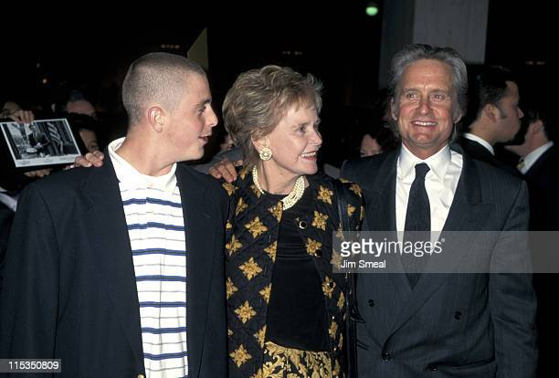 Michael Douglas mother and son Cameron Douglas during The American President Premiere in Los Angeles at Cineplex Odeon Century Plaza Cinema in Los...