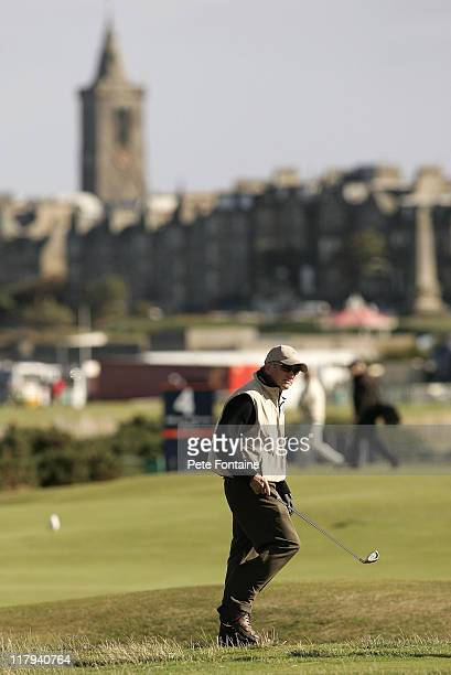 Michael Douglas on the fourteenth hole during practice day of the 2005 Dunhill Links Championship September 27 2005