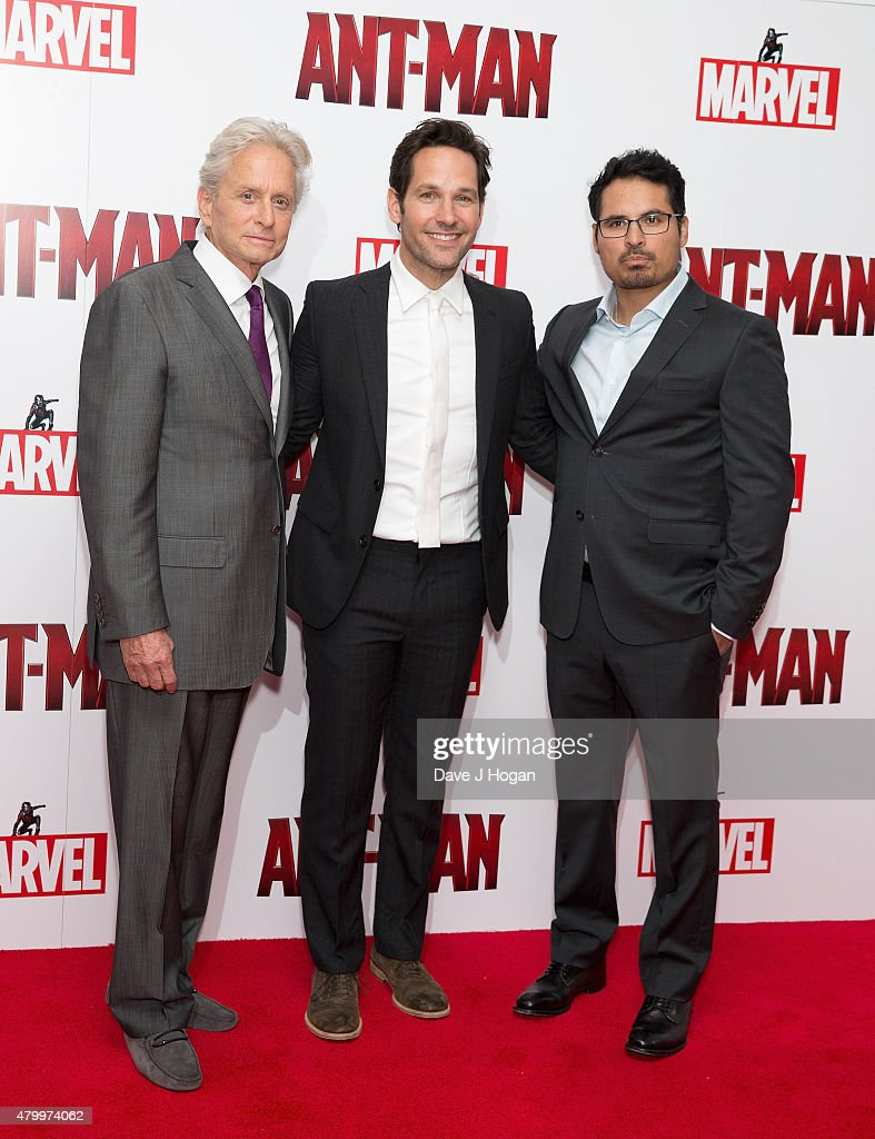 Michael Douglas Paul Rudd and Michael Pena attend the European premiere of Marvel's 'AntMan' at Odeon Leicester Square on July 8 2015 in London...