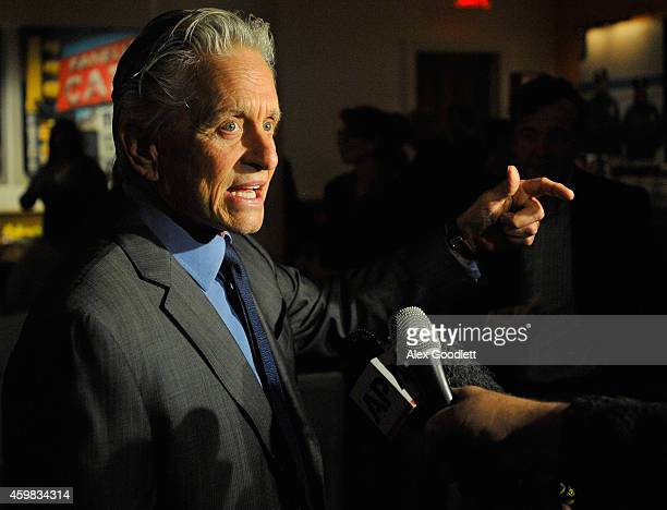 Michael Douglas speaks to the media after a press confrence for the 2017 America's Cup at the Crosby Street Hotel on December 2 2014 in New York City