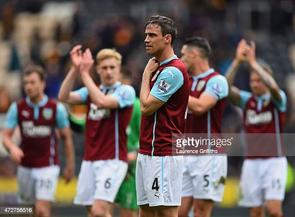 Michael Duff of Burnley looks dejected after his team were relegated after the Barclays Premier League match between Hull City and Burnley at KC...