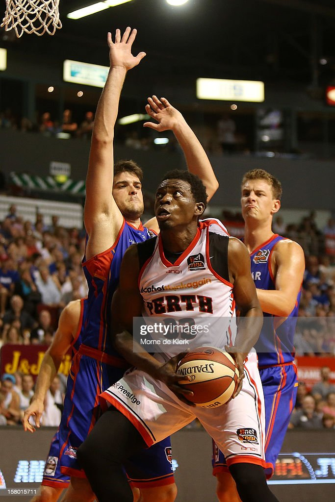 Michael Dunigan of Perth goes for the basket during the round ten NBL match between the Adelaide 36ers and the Perth Wildcats at Adelaide Arena on December 9, 2012 in Adelaide, Australia.