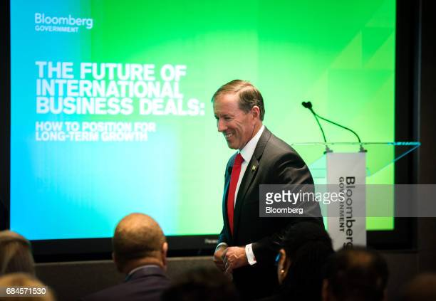 Michael Dunkley premier of Bermuda arrives to speak during 'The Future of International Business Deals How to Position for LongTerm Growth' event in...