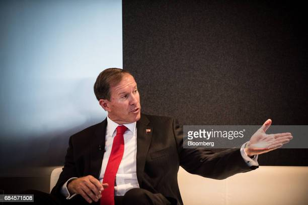 Michael Dunkley premier of Bermuda speaks during 'The Future of International Business Deals How to Position for LongTerm Growth' event in New York...