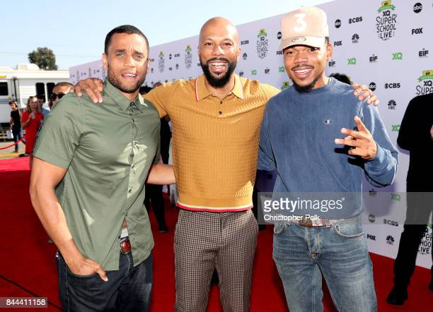 Michael Ealy Common and Chance The Rapper attend XQ Super School Live presented by EIF at Barker Hangar on September 8 2017 in Santa California