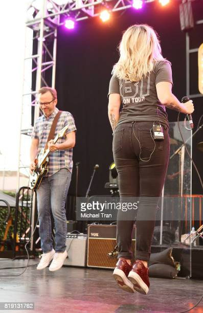 Michael Eisenstein and Kathleen Marie Hanley aka of Letters to Cleo perform onstage during the Citi presents The Grove Summer Concert Series held at...