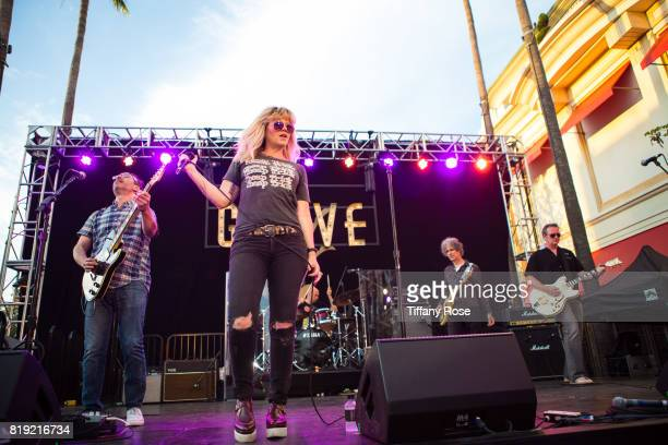 Michael Eisenstein Kay Hanley Stacy Jones and Greg McKenna of Letters to Cleo perform onstage during The Grove's Summer Concert Series Presented by...