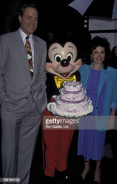 Michael Eisner and actress Annette Funicello attend Disney Legends Awards Gala on October 21 1992 at Disney Studios in Burbank California