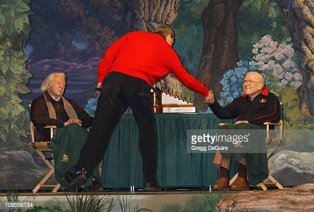 Michael Eisner greeting Joe Grant and Frank Thomas original Disney animator's of 'Snow White'