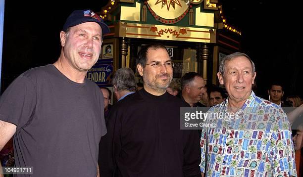 Michael Eisner Steve Jobs Roy Disney during Monsters Inc Premiere at El Capitan Theatre in Hollywood California United States