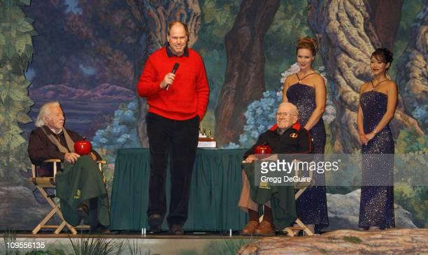 Michael Eisner with Joe Grant and Frank Thomas original Disney animator's of 'Snow White'