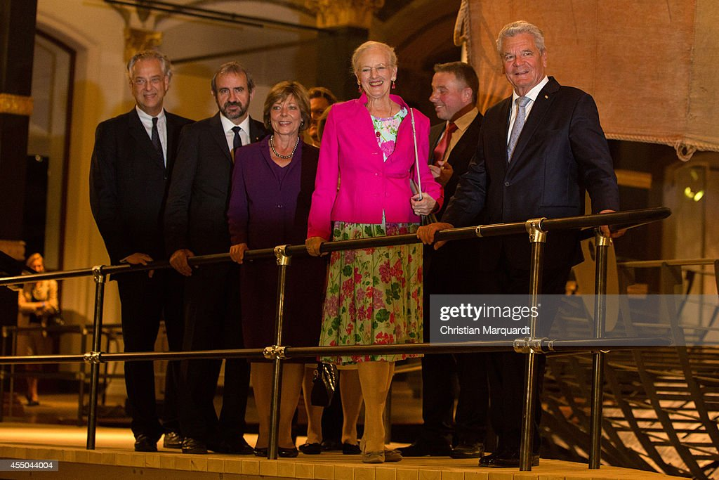 Michael Eissenhauer, Hermann Parzinger, President of the Prussian Cultural Heritage Foundation, German First Lady Daniela Schadt, Queen Margrethe II of Denmark (C) and German President Joachim Gauck (R) arrive at Martin-Gropius-Bau on September 9, 2014 in Berlin, Germany.