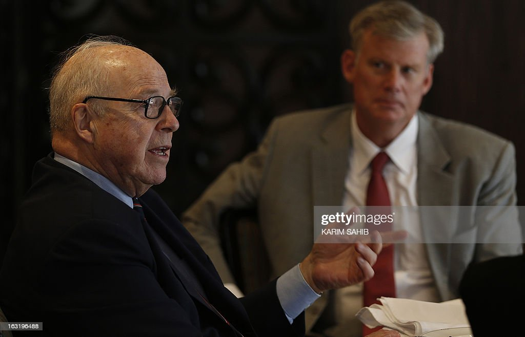 Michael Elleman (R), Senior Fellow for Regional Security Cooperation at the International Institute for Strategic Studies (IISS), listens to former UN inspector Hans Blix during a press gathering in Dubai on March 5, 2013. Ten years after the US-led invasion on Iraq, accused at the time of hiding weapons of mass destruction, the now 82-year-old Swedish ex-diplomat urges world powers to avoid committing the same error in launching a war against Iran.